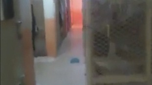 This grainy image is said to show the interior of an abandoned police station in Baiji after an assault.