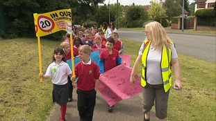 Over 5,000 children from across the region have been on a walking bus march.