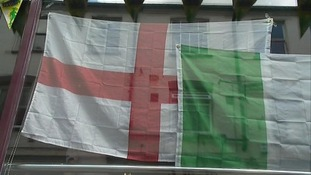 The England flag and Italian flag together.