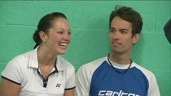 Nathan Robertson and his doubles partner Jenny Wallwork