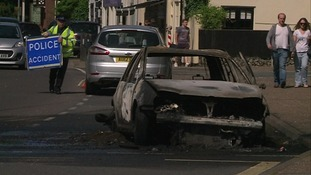 A car caught fire in Thorpe.