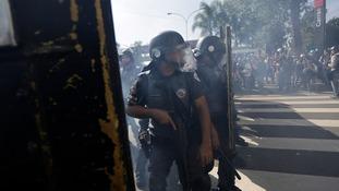 Riot policemen in Sao Paulo