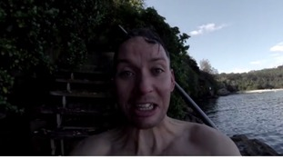 The last frame of the YouTube clip after the jumper crawls out of the water.