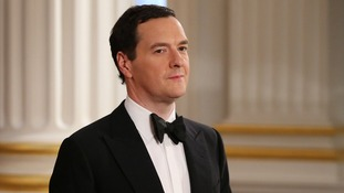George Osborne pictured tonight at Mansion House.