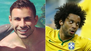London-based model Marcello Ferri, left, received Twitter abuse meant for Brazilian left-back Marcelo Vieira.