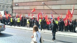 Protesters near Bank station earlier.