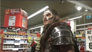 At one point the Lord Of the Rings orc scared a couple of girls from behind the shop window.