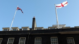 The flag fluttering atop 10 Downing Street on St George's Day.