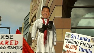 An effigy of the Sri Lankan president Mahinda Rajapaksa.