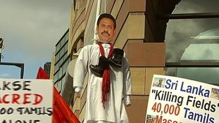 An effigy of the Sri Lankan president Mahinda Rajapaksa.