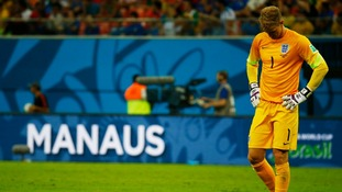 Joe Hart reacts after England's loss to Italy in Manaus.