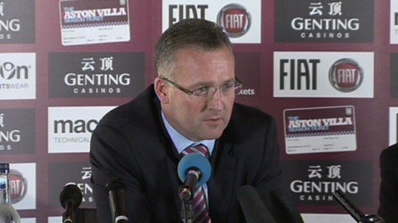 Paul Lambert speaks to the media as the new manager of Aston Villa