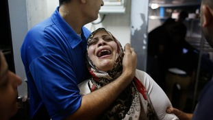 A Palestinian woman mourns the death of Ahmed AL Sabbaren, killed today by Israeli gunfire, medics said