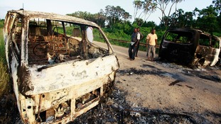 Torched vehicles on the outskirts of Mpeketoni this morning.