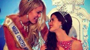 Carina Tyrrell being crowned Miss England