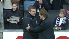MK Dons manager Karl Robinson embraces AFC Wimbledon boss Neil Ardley after their FA Cup 2nd Round tie, December 2012