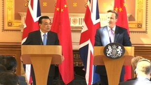 Chinese premier Li Keqiang and prime minister David Cameron