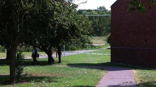 Police cordon near murder scene in Colchester