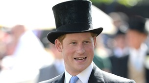 Prince Harry in his traditional Ascot top hat.