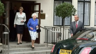 The Queen leaving King Edward VII Hospital in central London