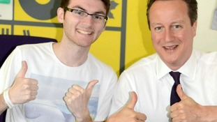 David Cameron has praised the brave actions of teenage cancer victim Stephen Sutton.