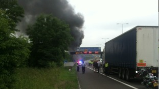 The motorway is expected to stay shut until lunchtime