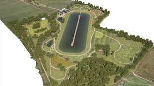 An artist's impression of the plans for the artificial lake on farmland near Almondsbury