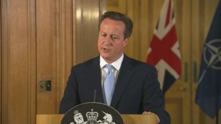 David Cameron speaks out about Iraq from Downing Street.