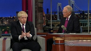 Boris Johnson appears on the Late Show with David Letterman.