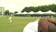 Brian Lara ducks for cover.