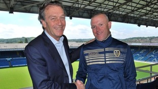 Massimo Cellino (L) with new coach Dave Hockaday