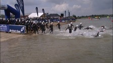 Swimmers at the start of the Great East Swim course