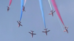 The Red Arrows take off three times a day in Lincolnshire.