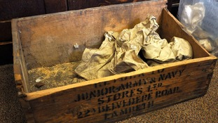 The wooden box the rare food items were found in, on top of a cupboard at Bristol University.