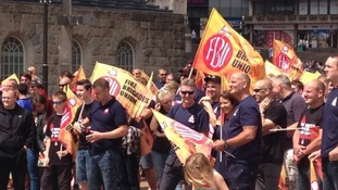 Dozens of firefighters took part in a mass protest in Birmingham