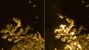 Titan sea Ligeia Mare sports its usual coastline in the image on the left, while the image on the right shows a mysteriously bright object.