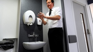 David Cameron during a hospital visit in Manchester.