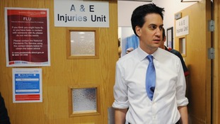 Ed Miliband visiting a hospital in east London.