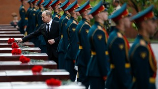 Vladimir Putin marks the anniversary of war with Nazi Germany.