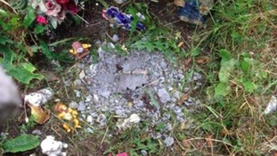 The remains of the smashed memorial