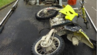 One of the motorbikes confiscated by police