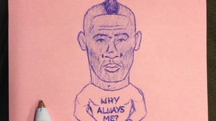 Mario Balotelli in his famous 'Why Always Me?' shirt