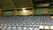 Damage to signs at the newly-named Sports Direct Arena