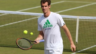 Andy Murray practices ahead of his first Wimbledon match.