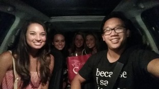 Bobbi (in the front seat) left a donation unbeknown to Alex Sheen.