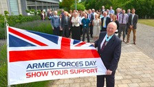 South Cambridgeshire District Council's Chairman, Cllr David Bard with the armed forces flag