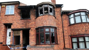 Scene of the Leicester house fire.
