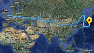 A map of the route Sarah has taken so far