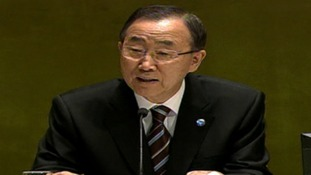 Ban Ki-Moon addressing the United Nations today