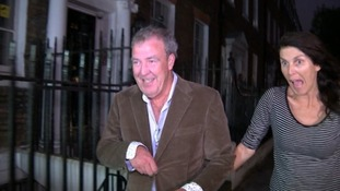 The Top Gear presenter smiles after leaving the Brooks' home.